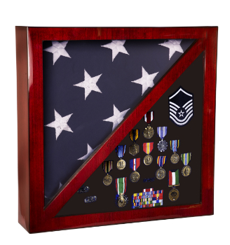 Rosewood Piano Finish Memorabilia and Memorial Flag Display Case